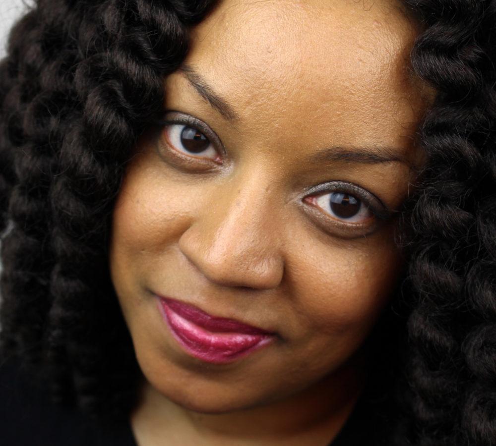 African Amercian Woman Curly Hair Closeup